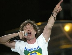 Mick Jagger em show no Brasil