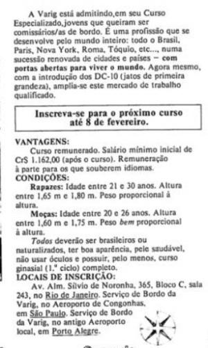 Anúncio da Varig dos anos 70