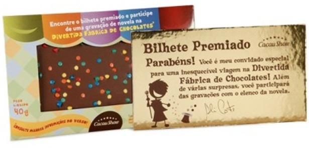 Chocolate da promoção da Cacau Show com a novela Carrossel, do SBT