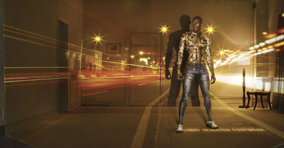 O clássico modelo de tênis Puma Disk é muito lembrado pelos funkeiros como um sonho de consumo; na foto, o corredor Usain Bolt em campanha da empresa