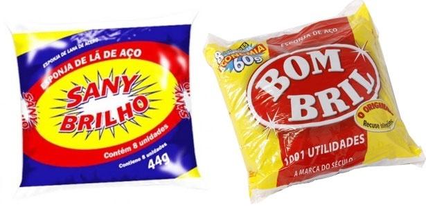 """A esponja de lã de aço """"Sany Brilho"""" (à esq.) teve a logomarca contestada judicialmente pela Bombril"""