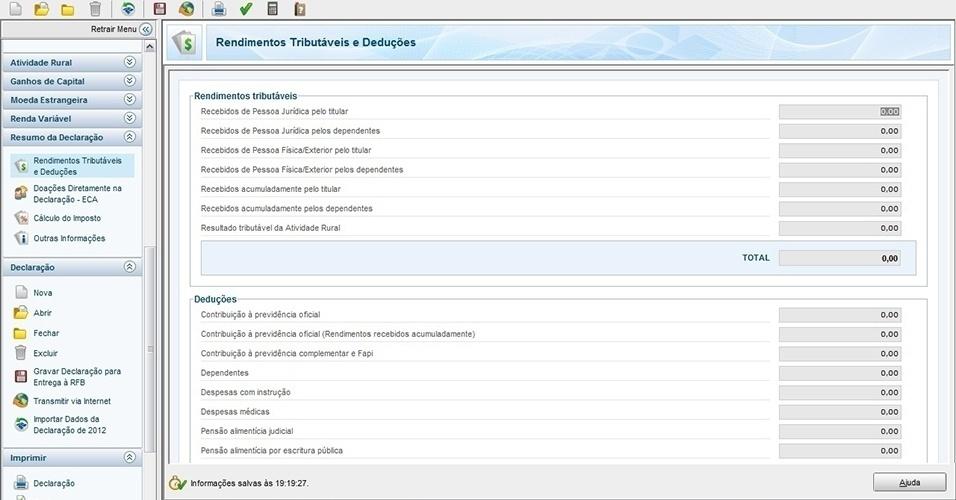 Página de passo a passo do IR 2013