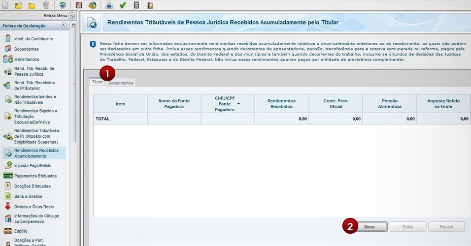 Página do passo a passo do IR 2013