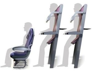Imagem mostra como seriam os lugares que a companhia aérea européia Ryanair planeja criar para que pessoas viajem em pé.