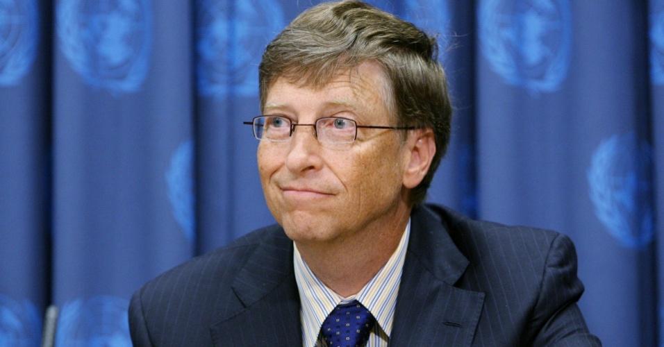 Bill Gates, executivo co-fundador da Microsoft, durante entrevista coletiva na sede das Nações Unidas, em Nova York, EUA