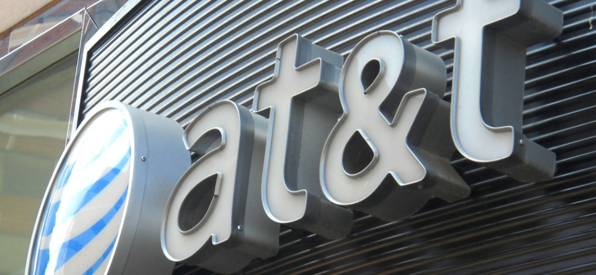 AT&T logo in Washington DC. - Etienne Franchi/AFP