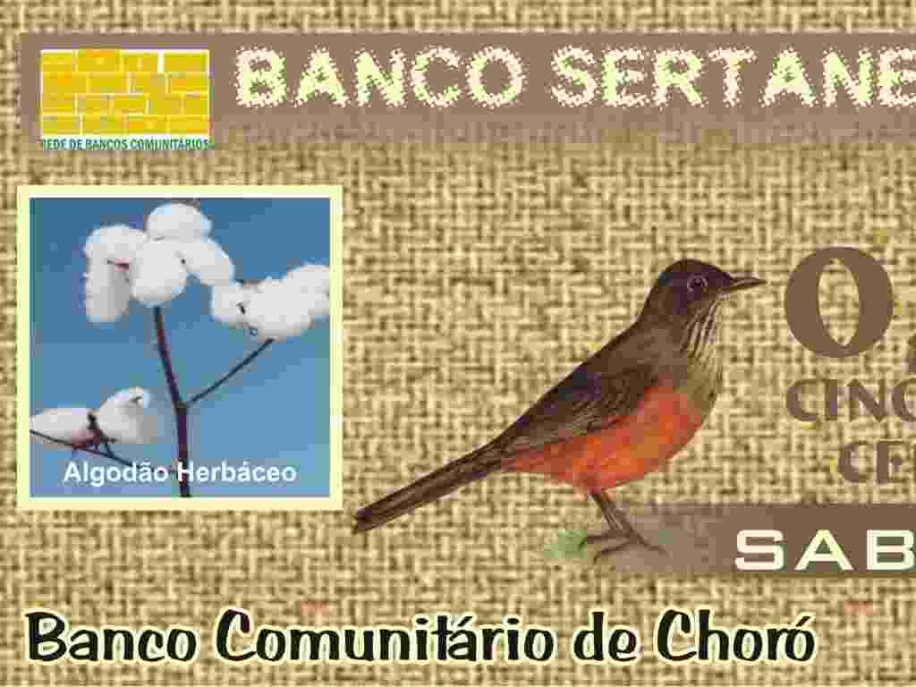 O banco Sertanejo, no Ceará, usa uma moeda chamada Sabiá - Divulgação/ Instituto Palmas