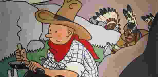 """01.jun.2016 - Imagem de """"Tintim na América"""", feita por Georges Remi, mais conhecido por seu pseudônimo, Hergé - Joel Saget/ AFP"""