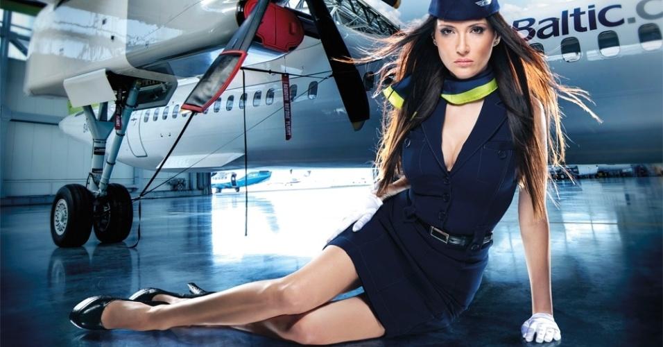 Foto do calendário anual da empresa de aviação da Letônia, AirBaltic