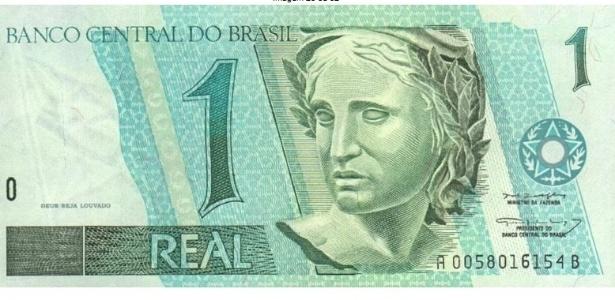 A nota de R$ 1 é a única da família do Real a não ter nenhum elemento gráfico novo; a efígie da república e o beija-flor já tinham sido usados em outras cédulas - Reprodução