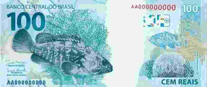 A nota de R$ 100 ganhou novos motivos marítimos, com estampas no verso - Banco Central