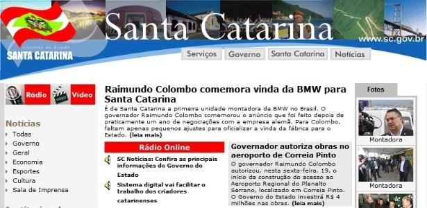Site oficial do governo de Santa catarina comemora construção de fábrica da BMW no Estado