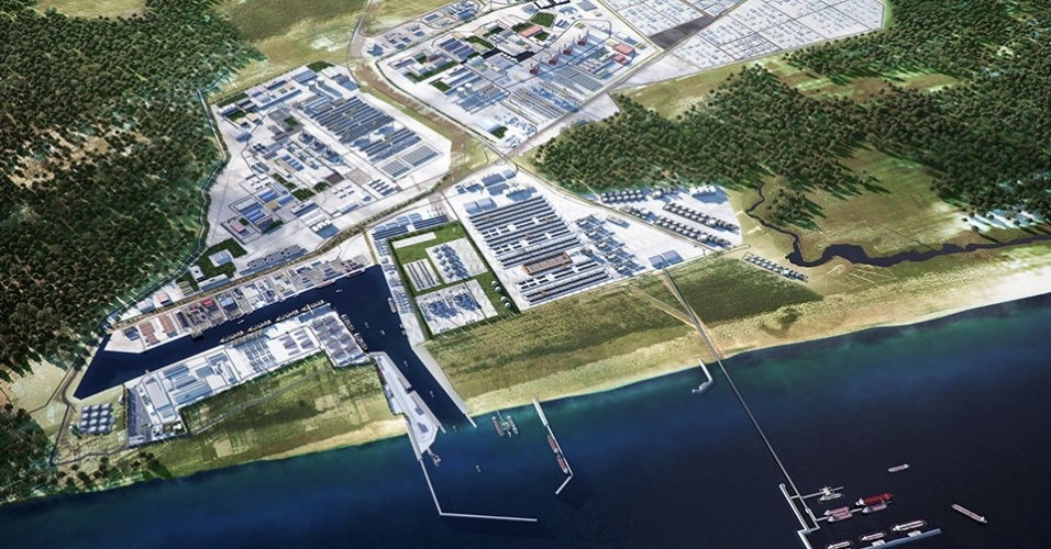 Imagem ilustrativa do complexo industrial do Superporto do Açu, do grupo EBX, no Rio