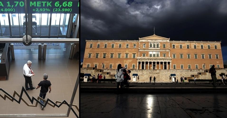montagem para retrospectiva de crise econômica