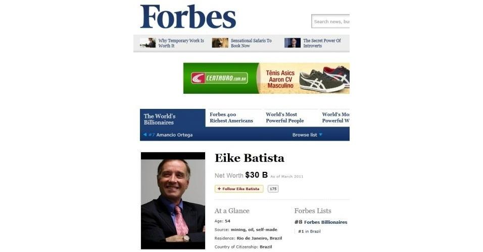 Eike Batista na lista de bilionários da Forbes álbum