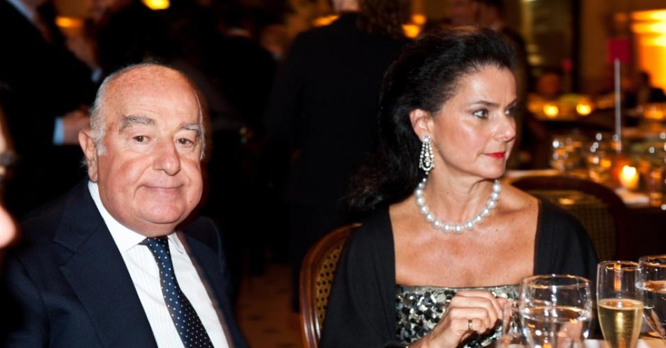 Joseph Safra e Vicky Safra durante jantar em comemoração do aniversário de Fernando Henrique Cardoso, na Sala São Paulo, em São Paulo (SP)