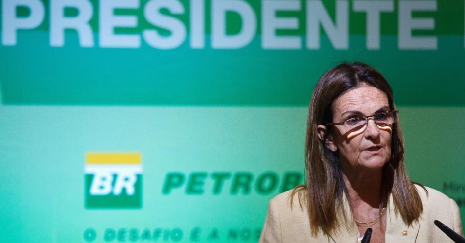 Em 2012, Maria das Gracas Silva Foster toma posse como a primeira mulher a presidir a Petrobras, no Salao Nobre do Edificio Sede da Petrobras, no Rio de Janeiro